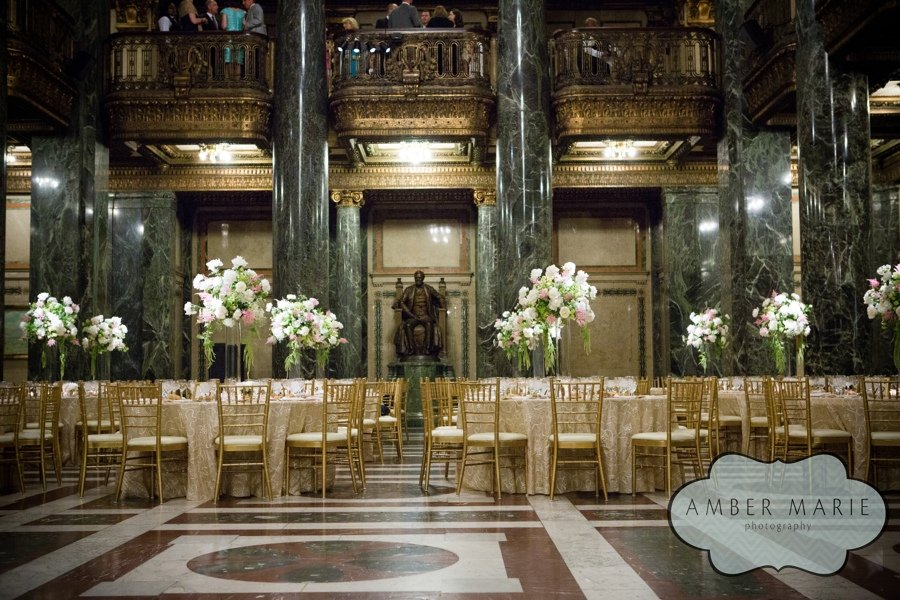 Gold Tables And Chairs A Carnegie Music Hall Pittsburgh Wedding Reception