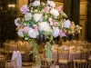 Ivory and pink floral centerpieces at a Carnegie Music Hall Pittsburgh wedding reception.