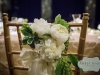 Ivory peonies on a chair at a Carnegie Music Hall Pittsburgh wedding reception.