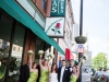 Bride and groom at family business, Gidas Flowers, during a Carnegie Music Hall Pittsburgh wedding reception.