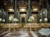 Gold tables and chairs a Carnegie Music Hall Pittsburgh wedding reception.