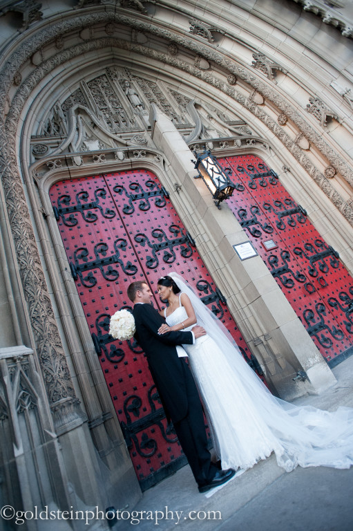 Fairmont Hotel Wedding: Bride and Groom in Front of Church Doors
