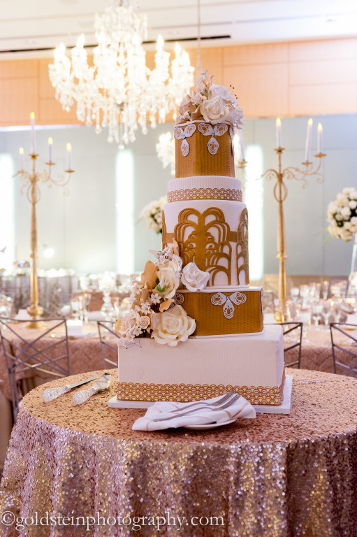 Fairmont Hotel Wedding Reception - Gold and White Wedding Cake