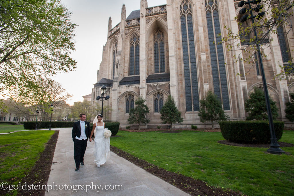 Fairmont Hotel Wedding Ceremony: Bride and Groom Walk Beside Chapel