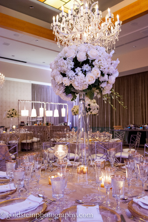 Fairmont Hotel Wedding Reception - Elegant White Rose Centerpieces