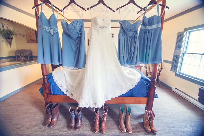 The Links Bloomsburg Wedding Dress with Blue Bridesmaid Dresses and Cowboy Boots