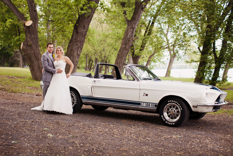 The Links Bloomsburg Wedding Newlyweds with GT 500 Shelby Mustang