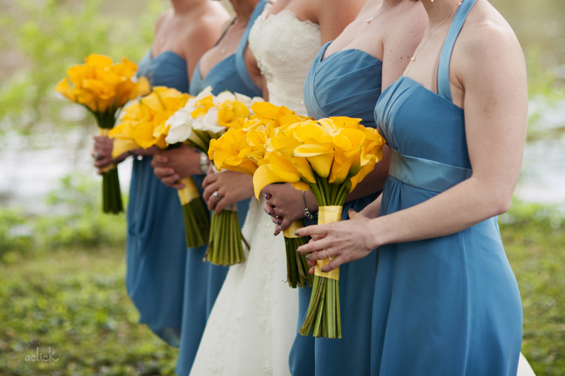 The Links Bloomsburg Wedding White and Yellow Calla Lilly Bouquets