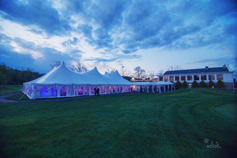 The Links Bloomsburg Wedding Reception Tent with Purple Lighting