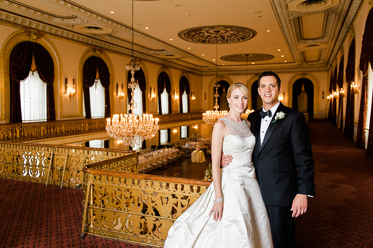 Omni William Penn Wedding Couple Posing in Ballroom Before Reception