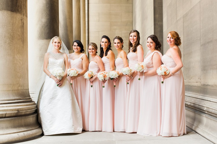 Omni William Penn Wedding Classic Bride with her Vintage Styled Bridesmaids