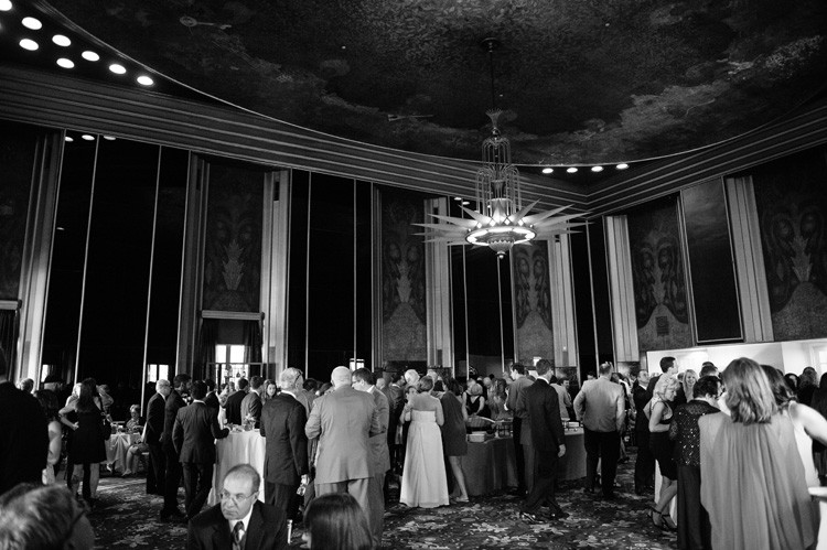 Omni William Penn Wedding Guests Enjoying Adult Beverages and Snacks Before Reception