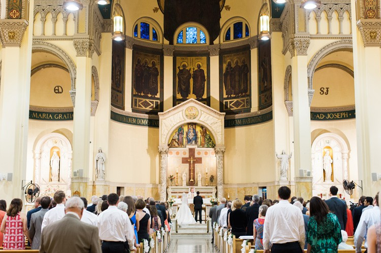 Omni William Penn Wedding Ceremony in a Catholic Cathedral