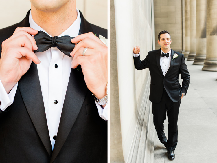 Omni Willian Penn Wedding Groom in Classic Black and White Tux with Bowtie