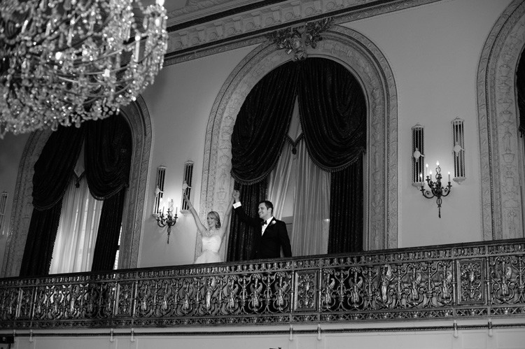 Omni William Penn Wedding Couple Entering Reception with Arms Up