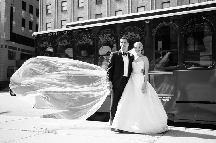 Omni William Penn Wedding Bride and Groom on Pittsburgh's Famous Trolleys
