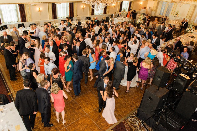 Omni William Penn Wedding Guests Dancing During Reception to Fantastic Band