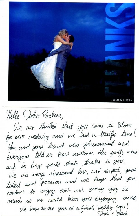 The Links Bloomsburg Wedding Newlyweds Handwritten Note of Thanks to John Parker Band