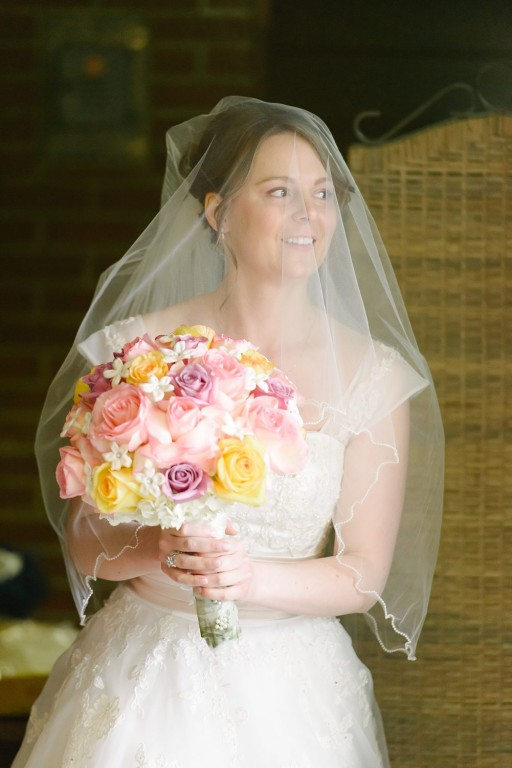 Circuit Center Ballroom Wedding - Bride with Waist-Length Veil and Bouquet
