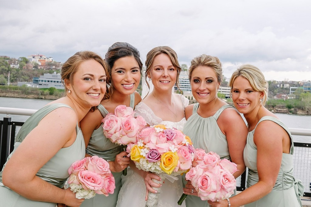 Circuit Center Ballroom Wedding - Bridemaids in Light Green