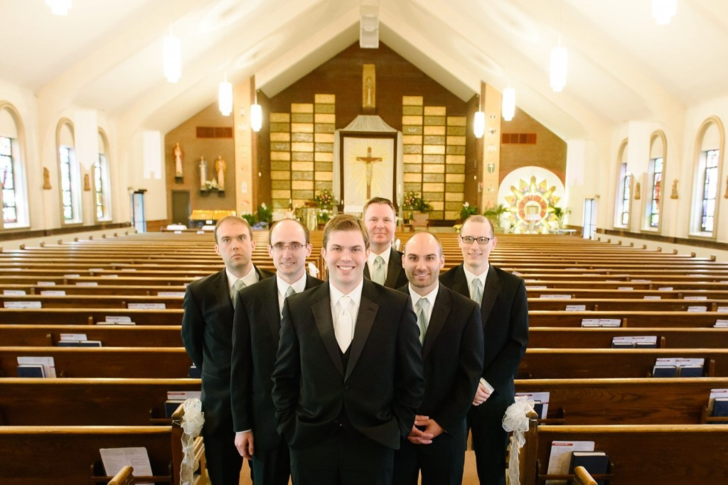 Circuit Center Ballroom Wedding -  Groomsmen in Church