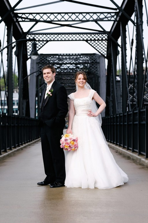 Circuit Center Ballroom Wedding - Bride and Groom on Bridge