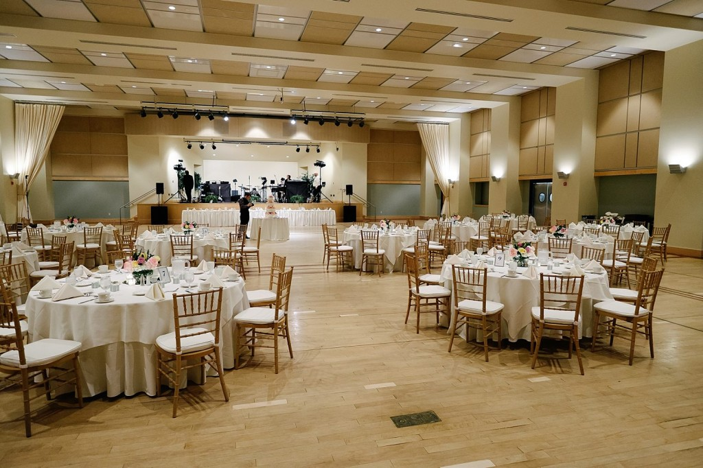 Circuit Center Ballroom Wedding Reception - Ballroom Space with Tables and Stage