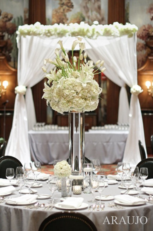 ... Duquesne Club Wedding Reception: White Reception Table Centerpieces ...
