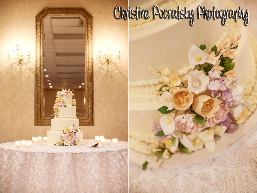 Hopwood Social Hall Wedding Reception - White Floral Wedding Cake
