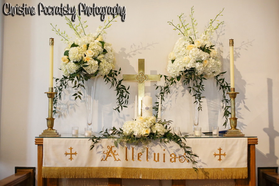 Hopwood Social Hall Wedding Ceremony - Church Altar with White Flowers