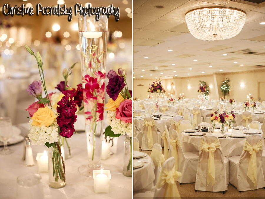 Hopwood Social Hall Wedding Reception - Table Arrangements and Centerpieces