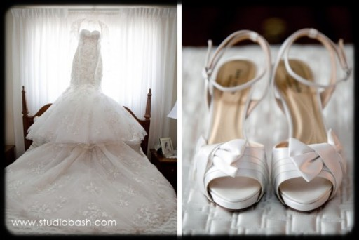 Power Center Ballroom Pittsburgh Wedding - Bride's Mermaid Gown and White Satin Shoes