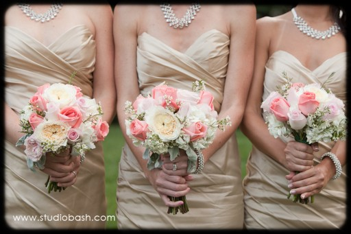 Power Center Ballroom Pittsburgh Wedding - Bridemaids with White and Pink Rose Bouquets