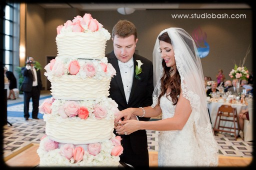 Power Center Ballroom Pittsburgh Wedding Reception - Couple Cutting White Cake