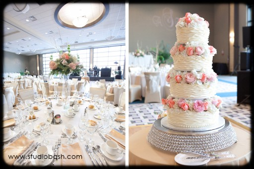 Power Center Ballroom Pittsburgh Wedding Reception - White Cake with Pink Roses Match Rose Centerpieces