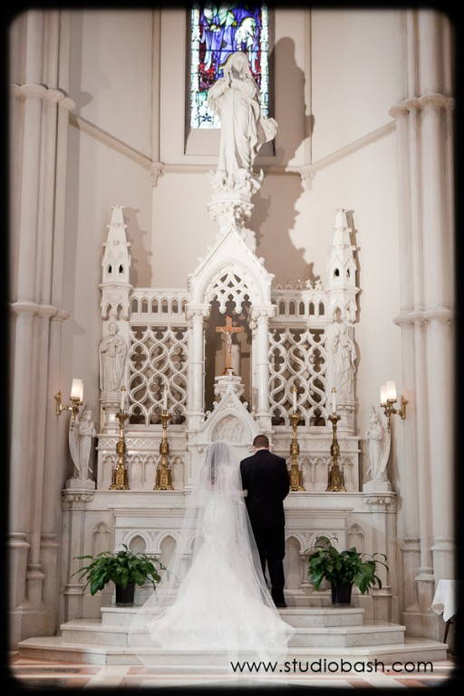 Power Center Ballroom Pittsburgh Wedding Ceremony - Couple at the Church Altar