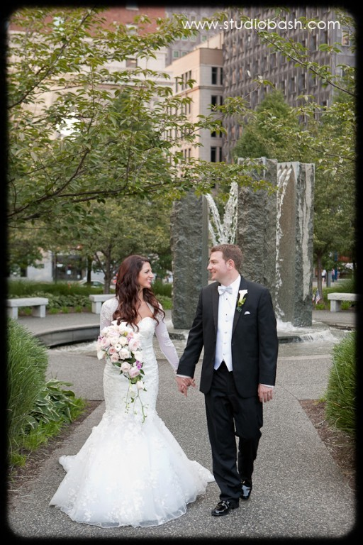 Power Center Ballroom Pittsburgh Wedding - Bride and Groom Holding Hands in Park