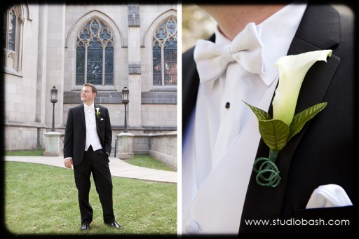Power Center Ballroom Pittsburgh Wedding - Groom with White Calla Lily Boutineer