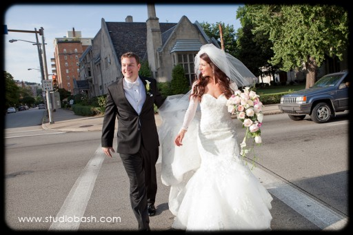 Power Center Ballroom Pittsburgh Wedding - Newlyweds Walk Pittsburgh After Ceremony