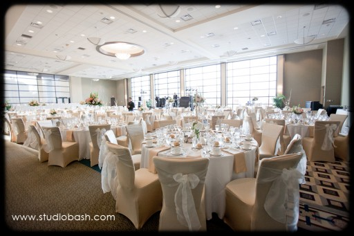 Power Center Ballroom Pittsburgh Wedding Reception - White Tables and Chairs with Bows