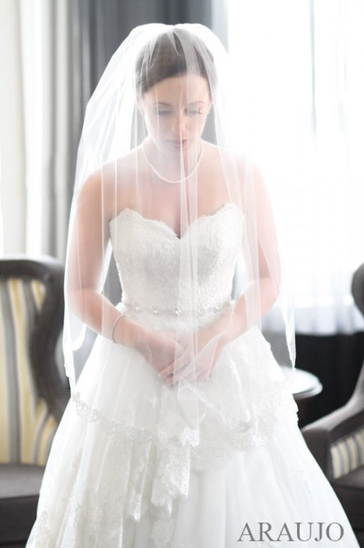 Renaissance Hotel Wedding - Beautiful Bride Under Waist-Length Veil