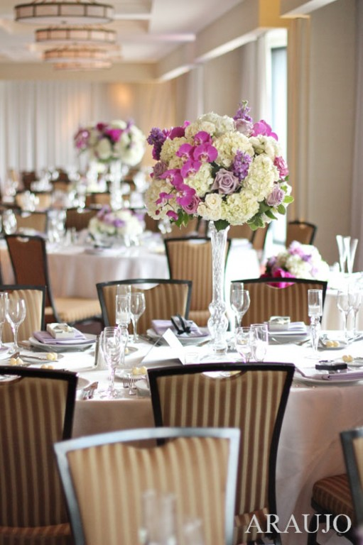 Renaissance Hotel Wedding Reception - Tall Pink and Purple Floral Centerpieces