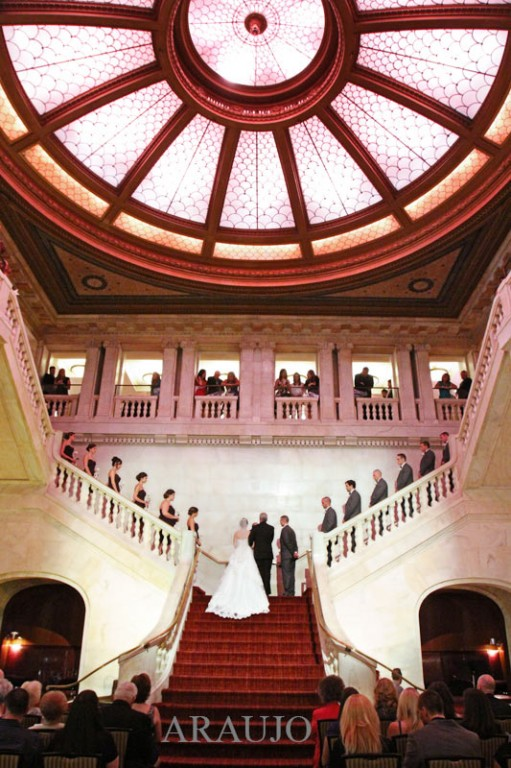 Renaissance Hotel Wedding Ceremony - Bride and Groom Wed on Hotel Staircase