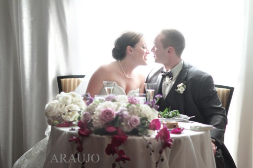 Renaissance Hotel Wedding Reception - Newlyweds Sitting at Sweetheart Table