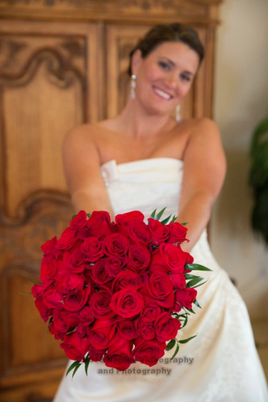 Golf Lodge at the Quarry Naples Wedding - Smiling Bride Huge Red Roses