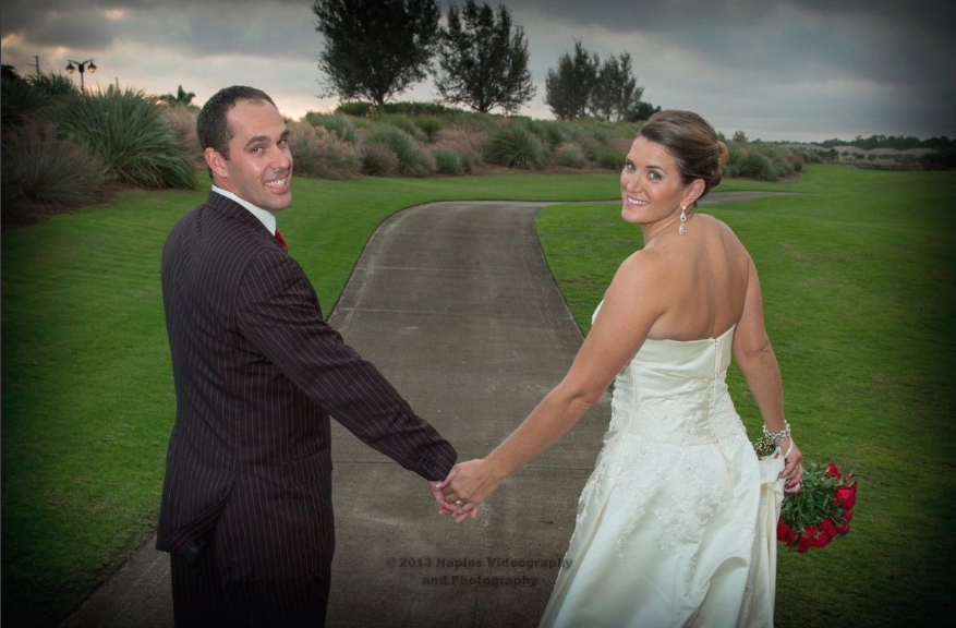 Golf Lodge at the Quarry Naples Wedding - Newlyweds Hold Hands
