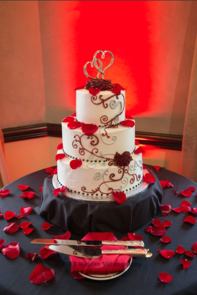 Golf Lodge at the Quarry Naples Wedding - Cake with Silver Heart Topper and Rose Petals