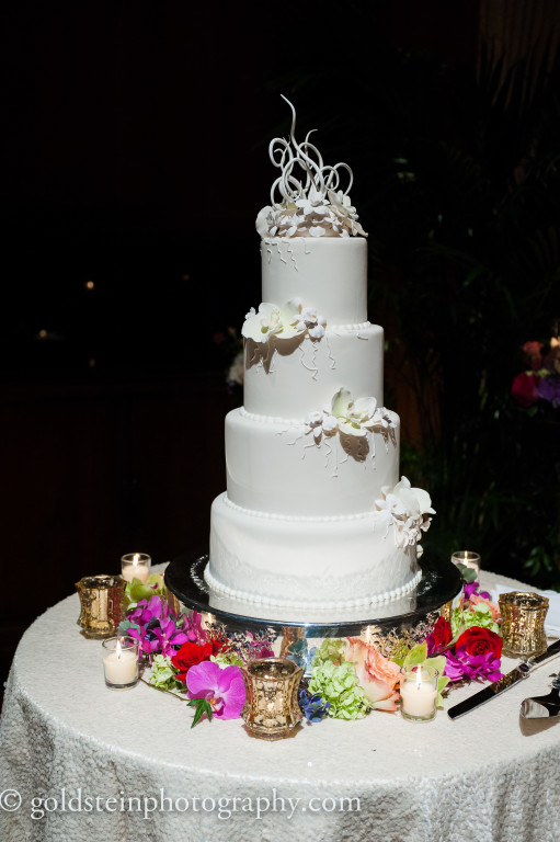 Duquesne Club Wedding Reception: 4-Tier White Wedding Cake