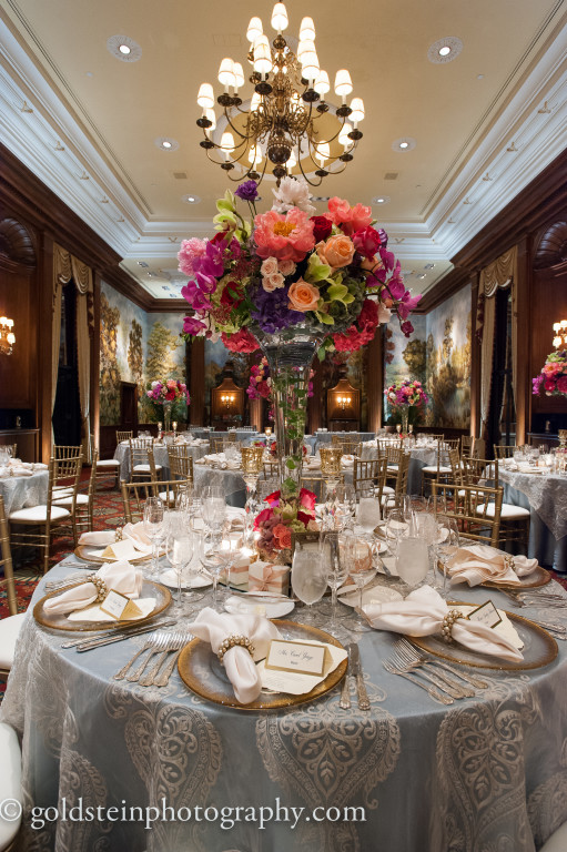 Duquesne Club Wedding Reception: Elegant Table Settings and Pink Flower Centerpieces