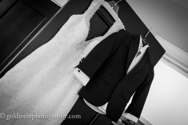 Duquesne Club Wedding: Bejeweled Bridal Dress and Tuxedo Hanging Up